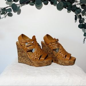 Soda Brown Wedge Sandal Size 7.5